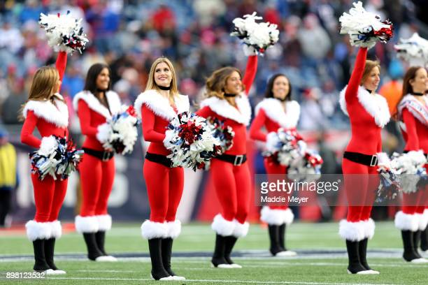 New England Patriots cheerleaders during the first half against the Buffalo Bills at Gillette Stadium on December 24 2017 in Foxboro Massachusetts