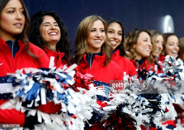 New England Patriots cheerleaders perform before the AFC Championship Game against the Jacksonville Jaguars at Gillette Stadium on January 21 2018 in...