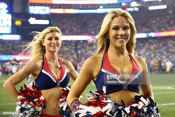 New England Patriots cheerleaders perform before the game against the Pittsburgh Steelers at Gillette Stadium on September 10 2015 in Foxboro...