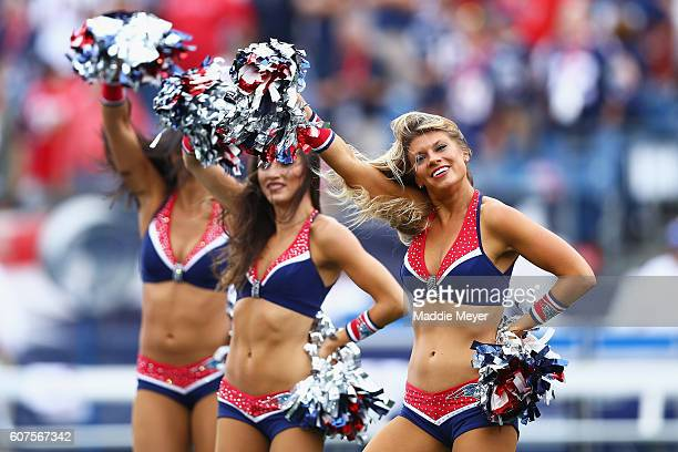 New England Patriots cheerleaders perform before the game against the Miami Dolphins at Gillette Stadium on September 18 2016 in Foxboro Massachusetts