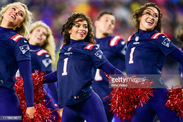 New England Patriots cheerleaders perform during a game against the Cleveland Browns at Gillette Stadium on October 27 2019 in Foxborough...