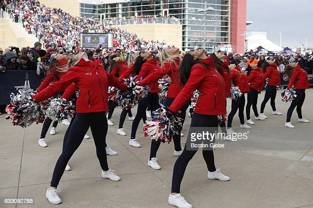New England Patriots cheerleaders perform during a Patriots sendoff rally at Patriot Place in Foxborough MA on Jan 30 2017