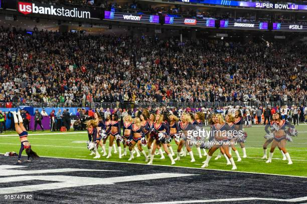 New England Patriots cheerleaders perform during Super Bowl LII at US Bank Stadium on February 4 2018 in Minneapolis Minnesota Corey ClementMarquis...