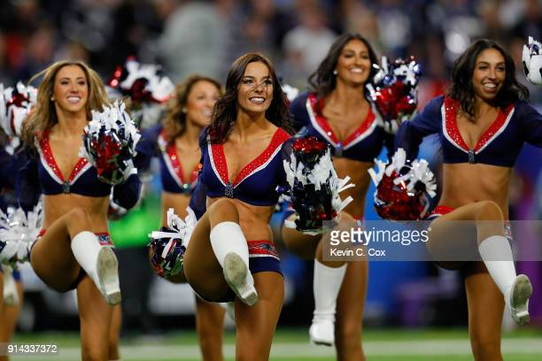 New England Patriots cheerleaders perform during Super Bowl LII against the Philadelphia Eagles at US Bank Stadium on February 4 2018 in Minneapolis...
