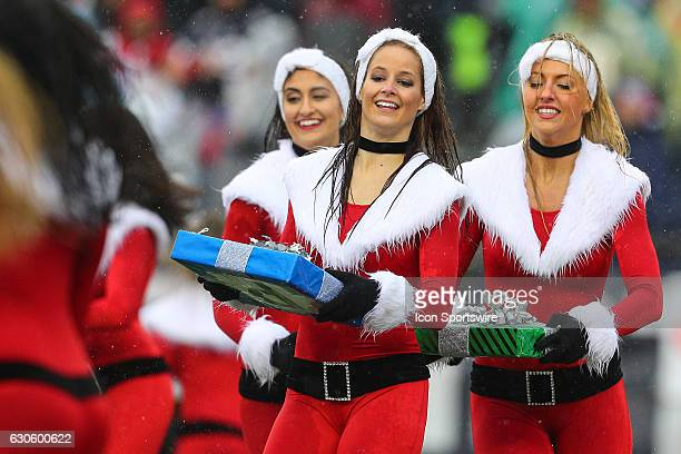 New England Patriots cheerleaders perform during the National Football League game between the New England Patriots and the New York Jets on December...