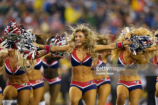 New England Patriots cheerleaders perform in the first half against the Pittsburgh Steelers at Gillette Stadium on September 10 2015 in Foxboro...