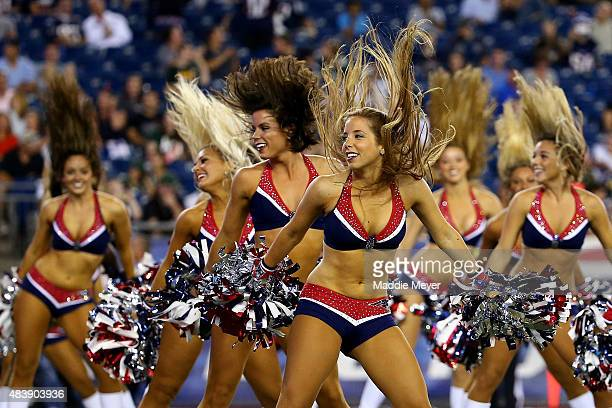 New England Patriots cheerleaders perform in the second half against the Green Bay Packers during a preseason game at Gillette Stadium on August 13...
