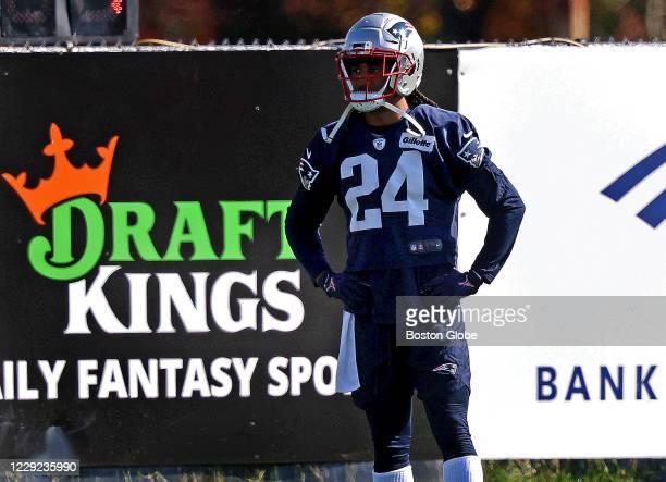 New England Patriots cornerback Stephon Gilmore stretches during the New England Patriots practice session in Foxborough, MA on Oct. 22, 2020.