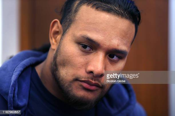 New England Patriots' Danny Shelton is pictured in the locker room before New England Patriots practice at Gillette Stadium in Foxborough MA on Aug...