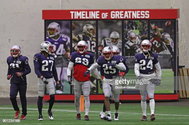 New England Patriots defensive backs at indoor practice in Foxborough Mass on Jan 4 2018 A snow storm moved the day's practice indoors