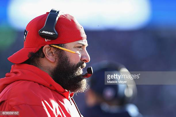 New England Patriots defensive coordinator Matt Patricia looks on during the game against the Los Angeles Rams at Gillette Stadium on December 4 2016...