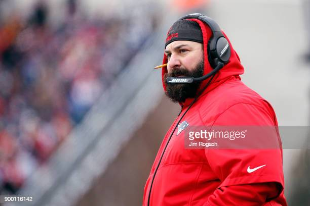 New England Patriots defensive coordinator Matt Patricia looks on during the first half against the New York Jets at Gillette Stadium on December 31...