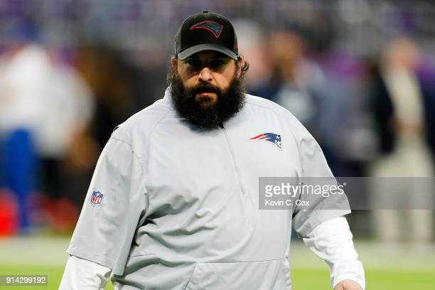 New England Patriots defensive coordinator Matt Patricia looks on during warmups prior to Super Bowl LII against the Philadelphia Eagles at US Bank...