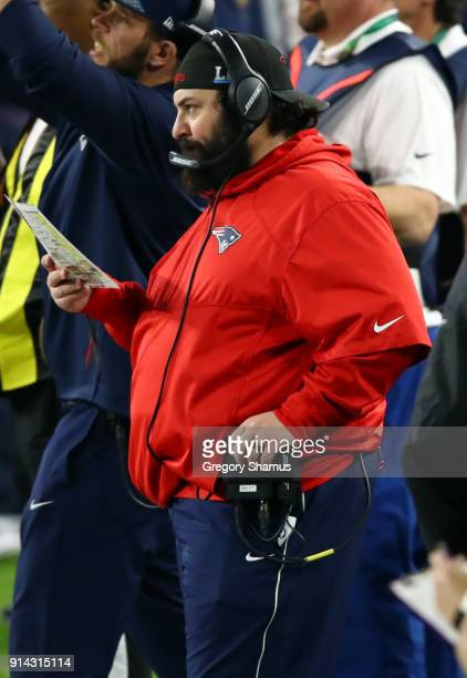 New England Patriots defensive coordinator Matt Patricia looks on from the sideline during the second quarter in Super Bowl LII at US Bank Stadium on...