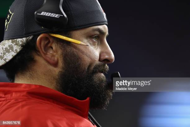 New England Patriots defensive coordinator Matt Patricia reacts on the sideline during the game against the Kansas City Chiefs at Gillette Stadium on...