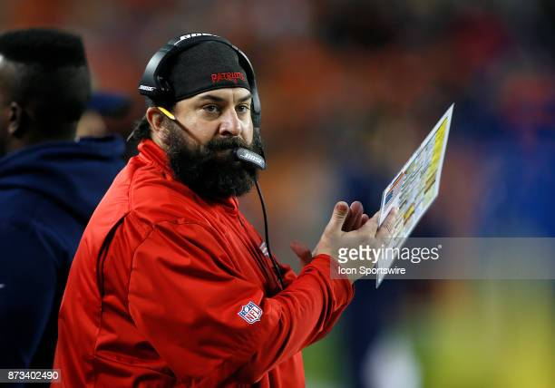 New England Patriots defensive coordinator Matt Patricia watches a play during a game between the Denver Broncos and the visiting New England...