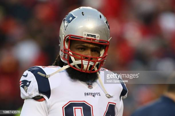 New England Patriots defensive end Adrian Clayborn before the AFC Championship Game game between the New England Patriots and Kansas City Chiefs on...