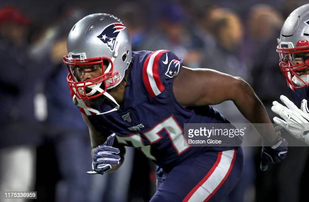 New England Patriots defensive end Michael Bennett is pictured before the game The New England Patriots host the New York Giants during a Thursday...