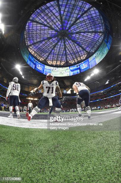 New England PAtriots defensive tackle Danny Shelton warms up prior to Super Bowl LIII at MercedesBenz Stadium in Atlanta Georgia on February 3 2019