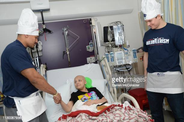 New England Patriot's Derek Rivers and Ryan Izzo visit with Jacob at Boston Children's Hospital March 12 2019 in Boston Massachusetts