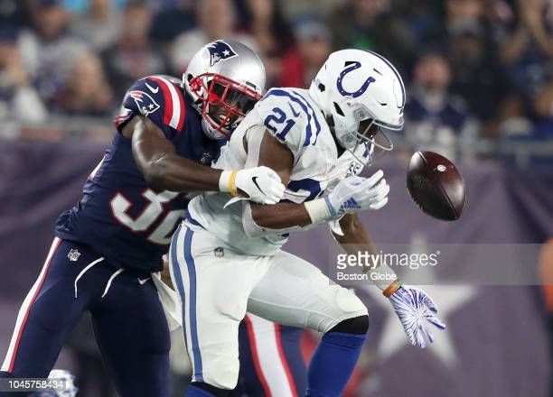 New England Patriots' Devin McCourty causes the Colts' Nyheim Hines to lose the ball in the third quarter The New England Patriots host the...