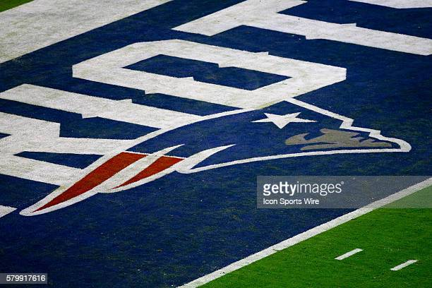 New England Patriots end zone logo during the second quarter of Super Bowl XLIX being played at University of Phoenix Stadium The New England...
