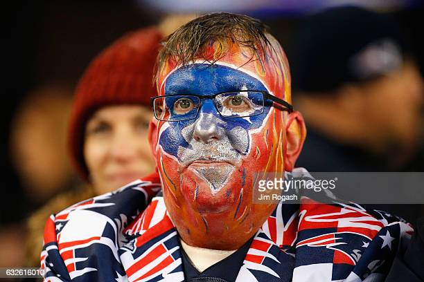 New England Patriots fan looks on during the AFC Championship Game between the New England Patriots and the Pittsburgh Steelers at Gillette Stadium...