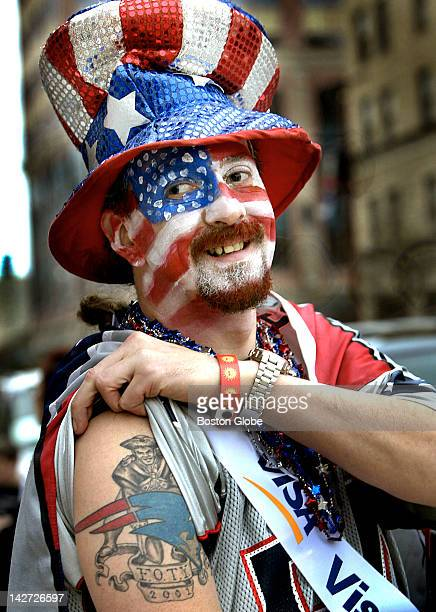 New England Patriots Fan Randy Zip Pierce a Patriot Season ticket holder since 1988 shows off his tattoo outside Minute Maid Park in Downtown Houston...