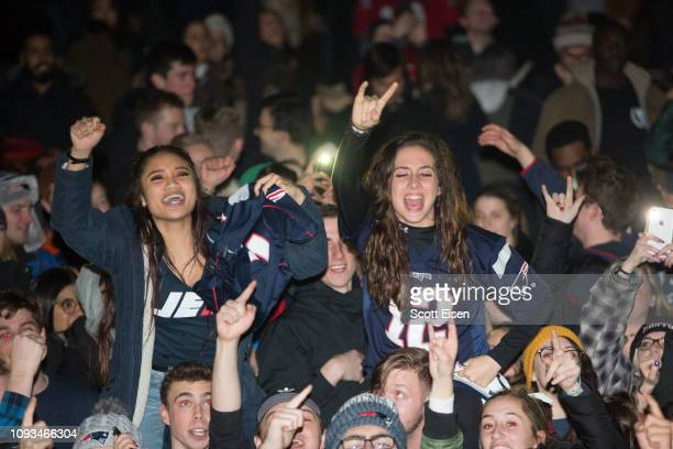 New England Patriots fans celebrate on the Boston Common after the New England Patriots beat the Los Angeles Rams in Super Bowl LIII on February 3...