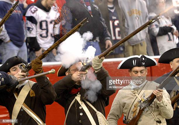New England Patriots fans dressed as Revolutionary War patriots celebrate a victory over the New York Jets an NFL wild card playoff game Jan 7 2007...