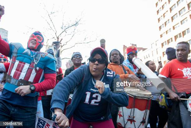 New England Patriots fans during the Victory Parade through the streets of Boston on February 5 in Boston, Massachusetts to celebrate winning Super...