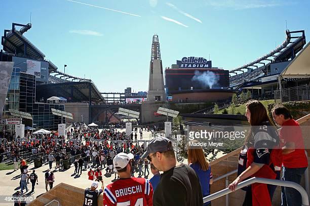 New England Patriots fans enter Gillette Stadium before the game against the Jacksonville Jaguars on September 27 2015 in Foxboro Massachusetts