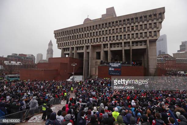 New England Patriots fans pack City Hall Plaza in Boston on Feb 7 2017 The rally was after the New England Patriots Super Bowl LI Victory Parade