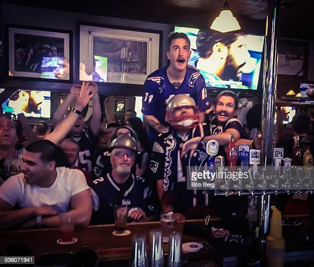 Santa Monica Ca February 1 2015 New England Patriots fans watch as the Patriots go for the eventual winning score against the Seattle Seahawks in...