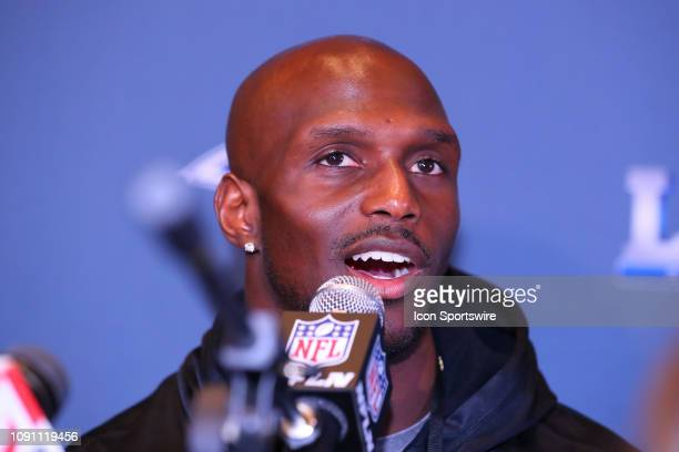 New England Patriots free safety Devin McCourty is interviewed at the New England Patriots Super Bowl LIII Press Conference on January 29, 2019 at...