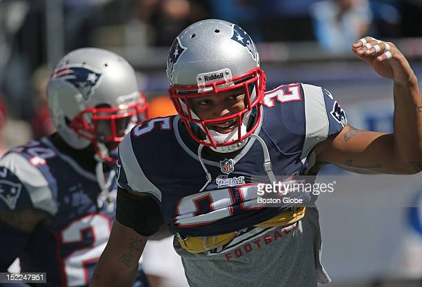 New England Patriots free safety Patrick Chung makes his way onto the playing field for pre-game warm ups before the Patriots play the Arizona...