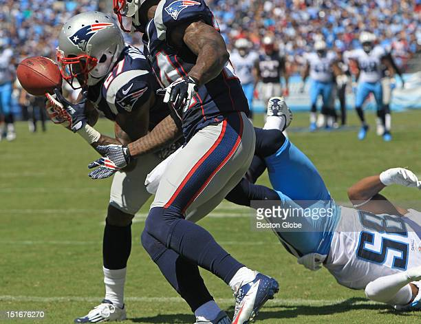 New England Patriots free safety Tavon Wilson intercepts a Jake Locker pass in the Titans' end zone for a touchback in the second quarter of the New...