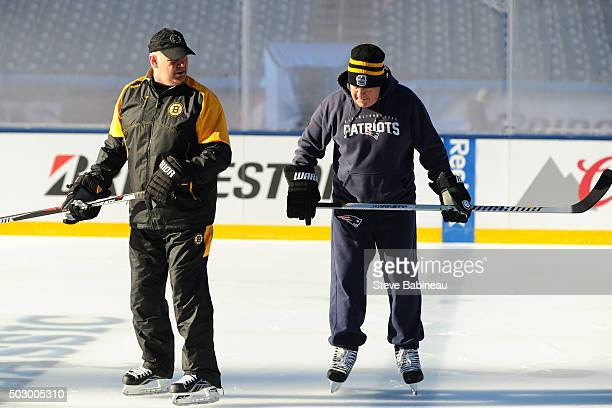 New England Patriots head coach Bill Belichick and Boston Bruins head coach Claude Julien enjoy Practice Day on December 31 2015 during 2016...