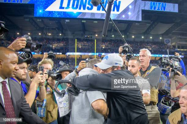 New England Patriots head coach Bill Belichick and Detroit Lions head coach Matt Patricia hug following the Detroit Lions 2610 victory over the New...