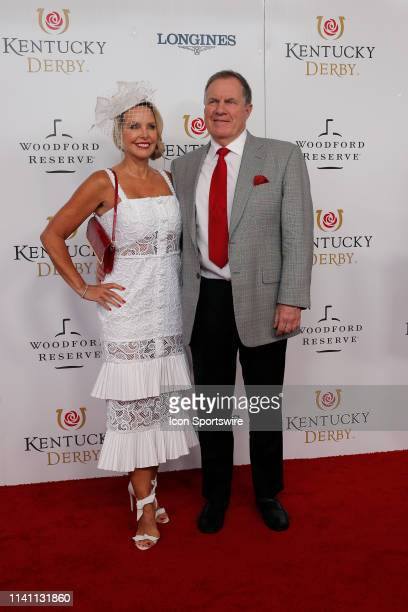 New England Patriots head coach Bill Belichick and Linda Holliday walk the red carpet prior to the 145th running of the Kentucky Derby on May 4 2019...