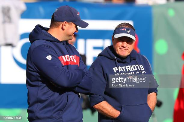 New England Patriots head coach Bill Belichick and New England Patriots special teams coach Joe Judge prior to the National Football League game...
