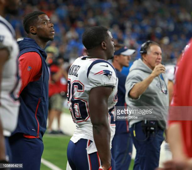 New England Patriots head coach Bill Belichick decided against dressing wide receiver Josh Gordon for the game They are pictured on the sidelines...