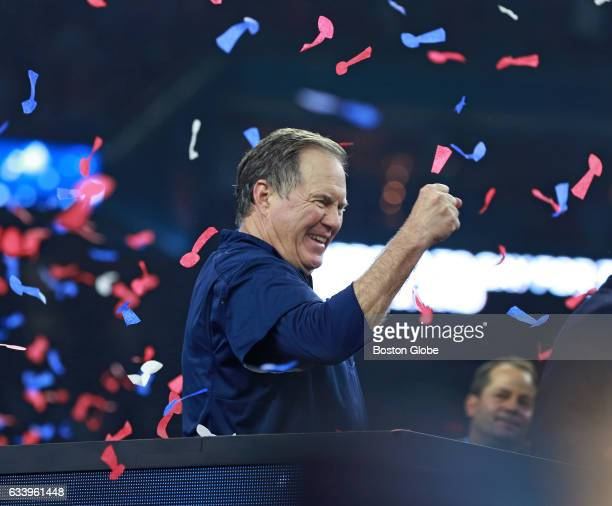 New England Patriots head coach Bill Belichick pumps his fist on the podium after winning Super Bowl LI in overtime The Atlanta Falcons play the New...
