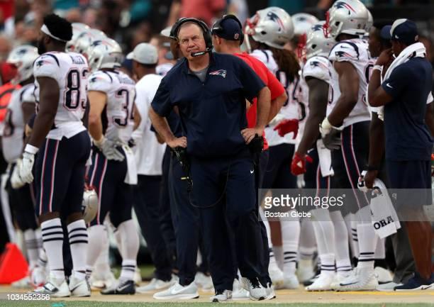 New England Patriots head coach Bill Belichick reacts on the sidelines after Jacksonville Jaguars wide receiver Dede Westbrook broke several tackles...