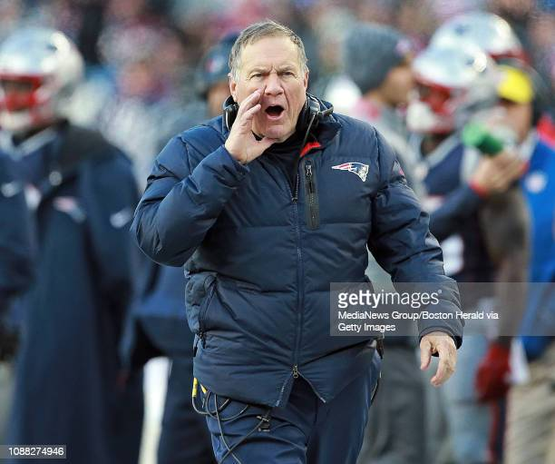 New England Patriots head coach Bill Belichick screams out during the fourth quarter of the NFL game against the New York Jets at Gillette Stadium on...