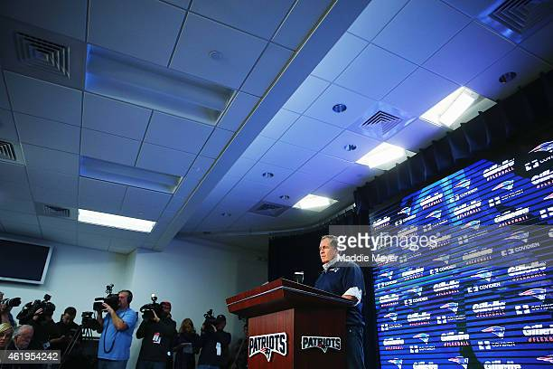 New England Patriots head coach Bill Belichick talks to the media during a press conference to address the under inflation of footballs used in the...