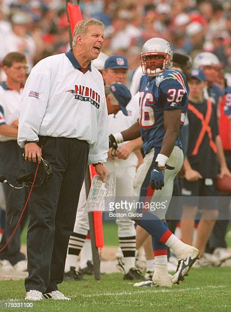 New England Patriots head coach Bill Parcels yells from the sidelines