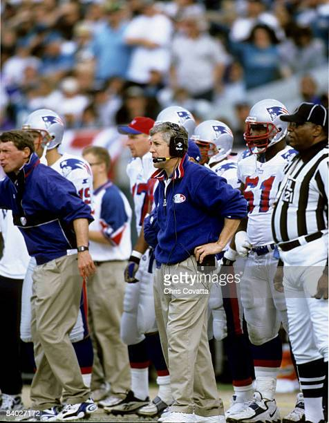 New England Patriots head coach Pete Carroll looks on during the Patriots 25-10 loss to the Jacksonville Jaguars in the 1998 AFC Wild Card Playoff...