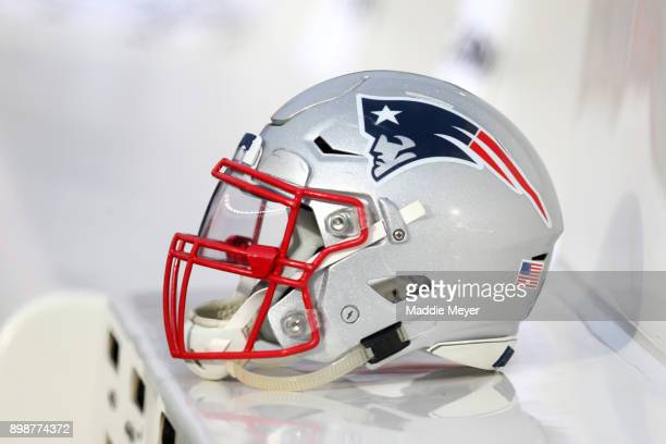 New England Patriots helmet during the first half of the game between the New England Patriots and the Buffalo Bills at Gillette Stadium on December...
