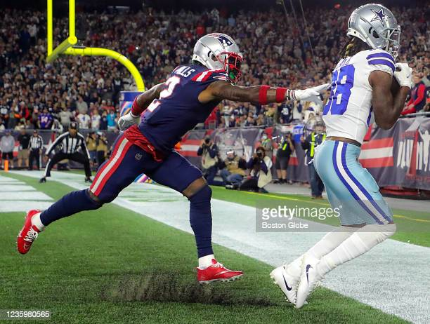 New England Patriots Jalen Mills cannot stop Dallas Cowboys CeeDee Lamb 1 yard touchdown reception during the third quarter.The New England Patriots...
